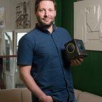 photographs of Dr Ben Schogler and colleague David with Skoog instruments in Skoog office
